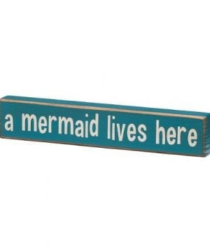 A Mermaid Lives Here Vintage Coastal Mini Wood Sign 8 In 0 300x360