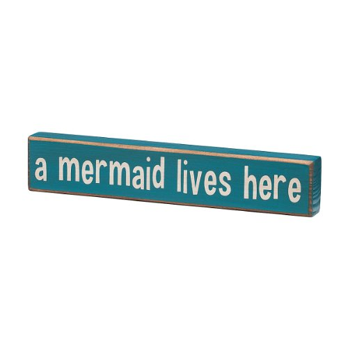 A Mermaid Lives Here Vintage Coastal Mini Wood Sign 8 In 0