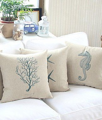 Bailandset-of-4-Sea-Life-Theme-Cottonlinen-Decorative-Pillow-Cover-0-324x384 Nautical Pillows and Nautical Throw Pillows