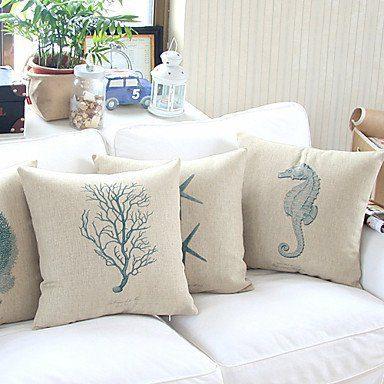 Bailandset-of-4-Sea-Life-Theme-Cottonlinen-Decorative-Pillow-Cover-0 Nautical Pillows and Nautical Throw Pillows