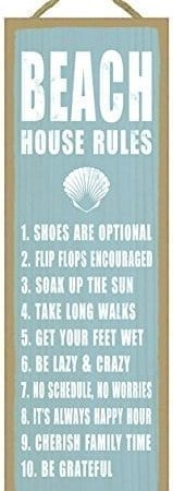 Beach-house-rules-shell-image-beach-primitive-wood-plaques-signs-measure-5-x-15-size-0-159x450 Wooden Beach Signs and Coastal Wood Signs