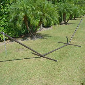 Caribbean Hammocks 15 Foot Heavy Duty Metal Tri Beam Hammock Stand 600lb Capacity Mocha Model TRIM 0 300x300