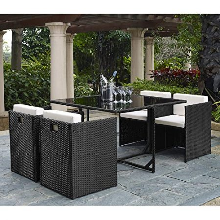Complete-OutdoorIndoor-5-Piece-Rattan-Wicker-Cube-Dining-Table-Garden-Patio-Furniture-Set-Black-with-Cream-cushions-0-450x450 Wicker Patio Dining Sets