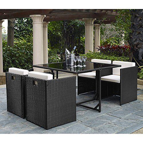 Complete Outdoor/Indoor 5 Piece Rattan Wicker Cube Dining Set