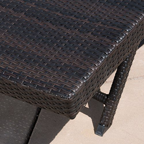 Eliana Outdoor Brown Wicker Chaise Lounge Chairs Set Of 2 0 1