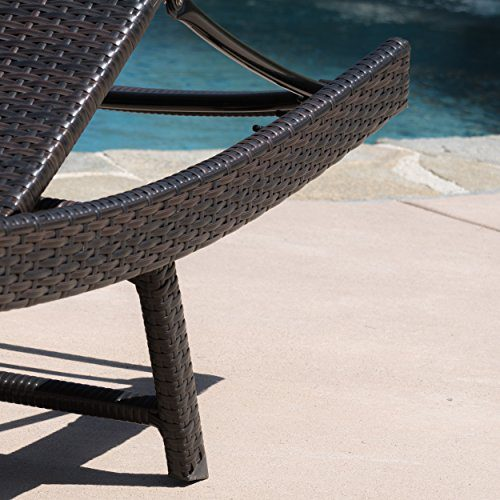 Eliana Outdoor Brown Wicker Chaise Lounge Chairs Set Of 2 0 2