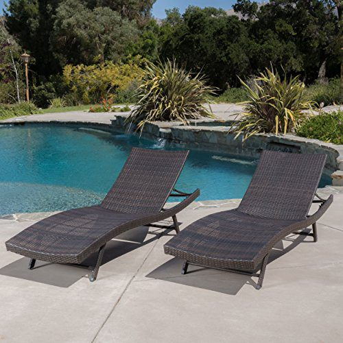 Eliana Outdoor Brown Wicker Chaise Lounge Chairs Set Of 2 0