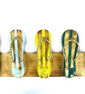 Hand Carved Flip Flop Wall Hanging Art Hooks