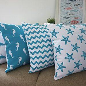 Howarmer Cotton Canvas Aqua Blue Decorative Pillows Cover Set Of 4 Beach Theme Chevron Whales Sea Horse Sea Stars 0 1 300x300