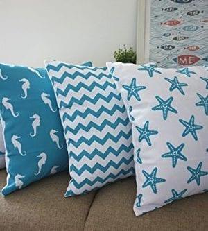 Howarmer Cotton Canvas Aqua Blue Decorative Pillows Cover Set Of 4 Beach Theme Chevron Whales Sea Horse Sea Stars 0 1 300x333