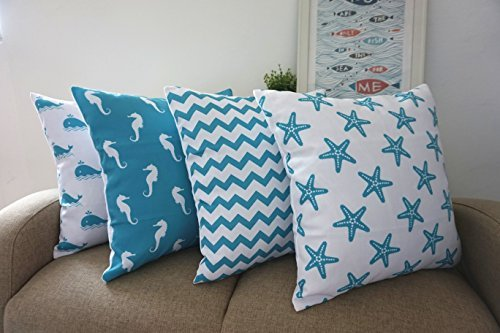 Howarmer Cotton Canvas Aqua Blue Decorative Pillows Cover Set Of 4 Beach Theme Chevron Whales Sea Horse Sea Stars 0 1
