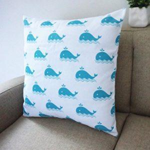 Howarmer Cotton Canvas Aqua Blue Decorative Pillows Cover Set Of 4 Beach Theme Chevron Whales Sea Horse Sea Stars 0 2 300x300