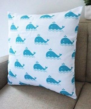 Howarmer Cotton Canvas Aqua Blue Decorative Pillows Cover Set Of 4 Beach Theme Chevron Whales Sea Horse Sea Stars 0 2 300x360