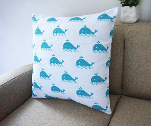 Howarmer Cotton Canvas Aqua Blue Decorative Pillows Cover Set Of 4 Beach Theme Chevron Whales Sea Horse Sea Stars 0 2