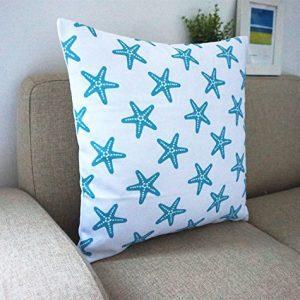 Howarmer Cotton Canvas Aqua Blue Decorative Pillows Cover Set Of 4 Beach Theme Chevron Whales Sea Horse Sea Stars 0 3 300x300