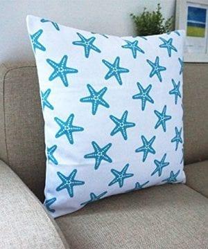Howarmer Cotton Canvas Aqua Blue Decorative Pillows Cover Set Of 4 Beach Theme Chevron Whales Sea Horse Sea Stars 0 3 300x360