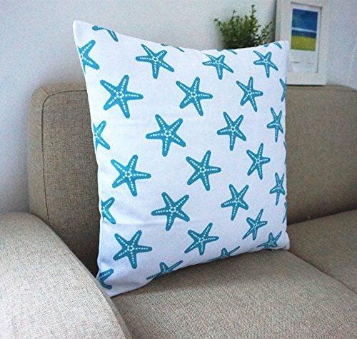 Howarmer Cotton Canvas Aqua Blue Decorative Pillows Cover Set Of 4 Beach Theme Chevron Whales Sea Horse Sea Stars 0 3