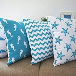 Howarmer Cotton Canvas Aqua Blue Decorative Pillows Cover Set Of 4 Beach Theme Chevron Whales Sea Horse Sea Stars 0 300x300