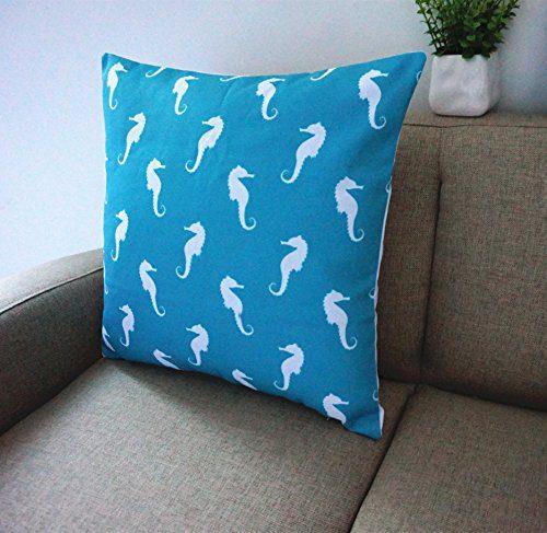 Howarmer Cotton Canvas Aqua Blue Decorative Pillows Cover Set Of 4 Beach Theme Chevron Whales Sea Horse Sea Stars 0 4