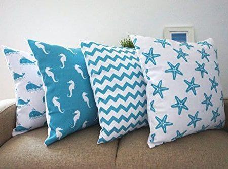 Howarmer-Cotton-Canvas-Aqua-Blue-Decorative-Pillows-Cover-Set-of-4-Beach-Theme-Chevron-Whales-Sea-Horse-Sea-Stars-0-450x333 Nautical Pillows and Nautical Throw Pillows