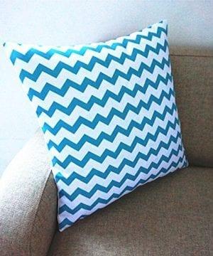 Howarmer Cotton Canvas Aqua Blue Decorative Pillows Cover Set Of 4 Beach Theme Chevron Whales Sea Horse Sea Stars 0 5 300x360