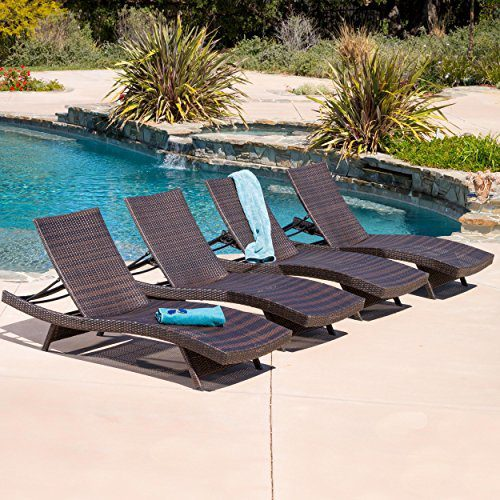 Lakeport Outdoor Adjustable Chaise Lounge Chair Set Of 4 0