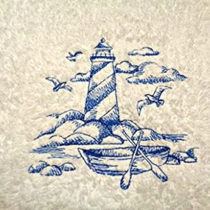 Lighthouse-Blue-Embroidery-on-White-Towel-Shoreline-Beach-Nautical-Themed-Bath-Hand-Towels-0-300x300 50+ Beach Hand Towels and Nautical Hand Towels For 2020