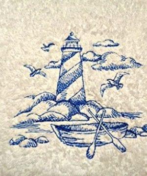Lighthouse-Blue-Embroidery-on-White-Towel-Shoreline-Beach-Nautical-Themed-Bath-Hand-Towels-0-300x360 50+ Beach Hand Towels and Nautical Hand Towels