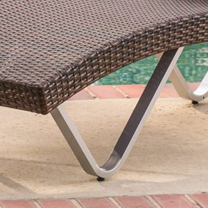 Manuela Outdoor Single Multibrown Wicker Chaise Lounge Chair 0 0 300x300