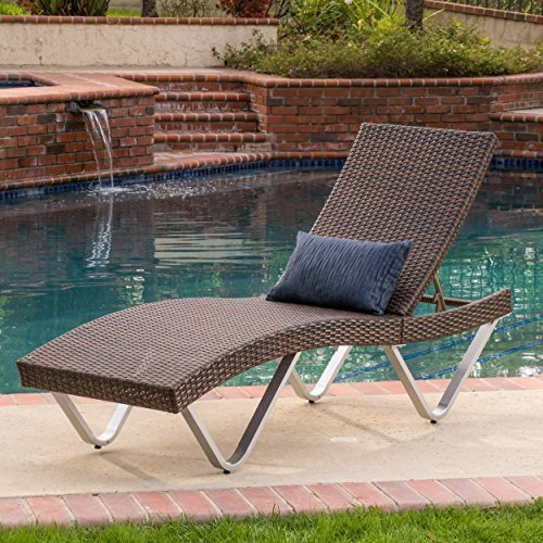 Manuela Outdoor Single Multibrown Wicker Chaise Lounge Chair 0