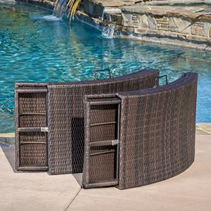 Maureen Outdoor Multibrown PE Wicker Folding Chaise Lounge Chairs Set Of 2 0 0 300x300