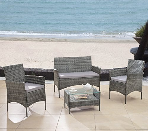 Modern-Outdoor-Garden-Patio-4-Piece-Seat-Gray-Black-Wicker-Sofa-Furniture-Set-0 Wicker Conversation Sets