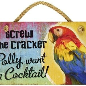New Distressed Wood Tropical Decor Polly Want Cocktail Sign Beach Coastal Fun Plaque 0 300x300