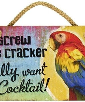New Distressed Wood Tropical Decor Polly Want Cocktail Sign Beach Coastal Fun Plaque 0 300x360