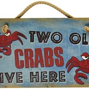New Vintage Wood Hanging Wall Sign Two Old Crabs Live Here Distressed Plaque Cozy Beach Cottage Decor Art 0 300x300