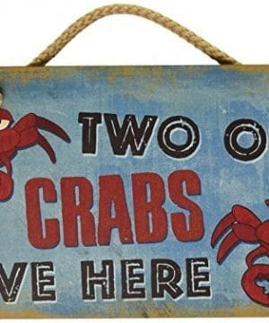 New Vintage Wood Hanging Wall Sign Two Old Crabs Live Here Distressed Plaque Cozy Beach Cottage Decor Art 0 300x360