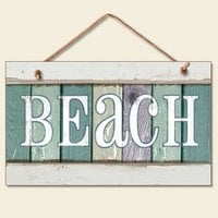 New Weathered Wood Beach Sign Coastal Wall Plaque Decor 0