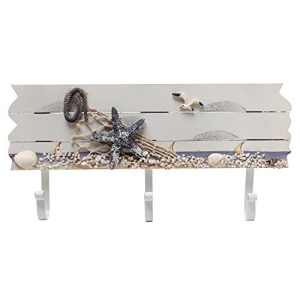 Oceanic Coastal White Sandy Beach Style Starfish Seagull Seashells Wood 3 Metal Coat Hooks Wall Rack 0 0 300x300