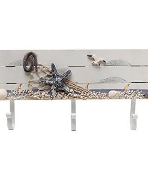 Oceanic Coastal White Sandy Beach Style Starfish Seagull Seashells Wood 3 Metal Coat Hooks Wall Rack 0 0 300x360