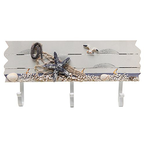 Oceanic Coastal White Sandy Beach Style Starfish Seagull Seashells Wood 3 Metal Coat Hooks Wall Rack 0 0