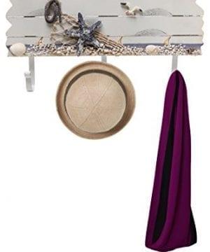 Oceanic Coastal White Sandy Beach Style Starfish Seagull Seashells Wood 3 Metal Coat Hooks Wall Rack 0 1 300x360