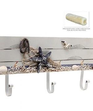 Oceanic Coastal White Sandy Beach Style Starfish Seagull Seashells Wood 3 Metal Coat Hooks Wall Rack 0 2 300x360
