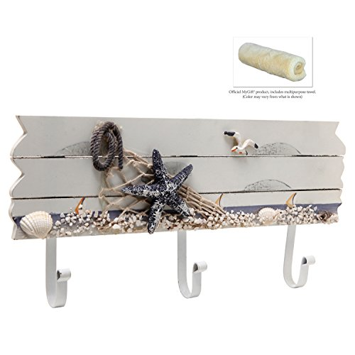 Oceanic Coastal White Sandy Beach Style Starfish Seagull Seashells Wood 3 Metal Coat Hooks Wall Rack 0 2