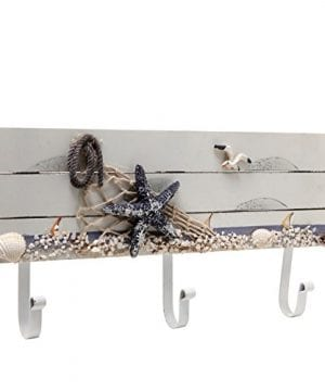 Oceanic Coastal White Sandy Beach Style Starfish Seagull Seashells Wood 3 Metal Coat Hooks Wall Rack 0 300x360
