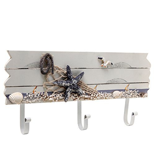 Oceanic Coastal White Sandy Beach Style Starfish Seagull Seashells Wood 3 Metal Coat Hooks Wall Rack 0
