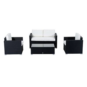 Outsunny 4 Piece Cushioned Outdoor Rattan Wicker Sofa Sectional Patio Furniture Set 0 0 300x300