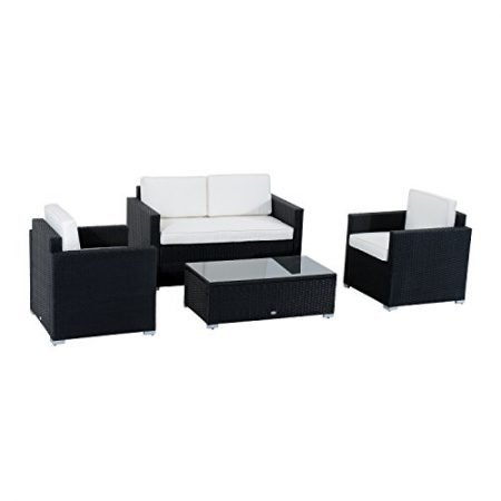 Outsunny-4-Piece-Cushioned-Outdoor-Rattan-Wicker-Sofa-Sectional-Patio-Furniture-Set-0-450x450 Wicker Conversation Sets