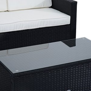 Outsunny 4 Piece Cushioned Outdoor Rattan Wicker Sofa Sectional Patio Furniture Set 0 5 300x300