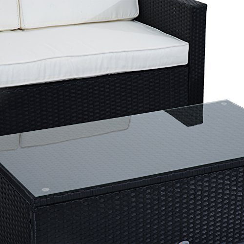 Outsunny 4 Piece Cushioned Outdoor Rattan Wicker Sofa Sectional Patio Furniture Set 0 5