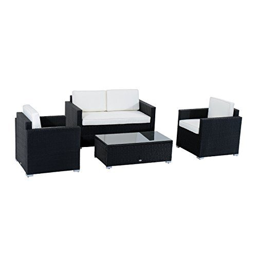 Outsunny 4 Piece Cushioned Outdoor Rattan Wicker Sofa Sectional Patio Furniture Set 0